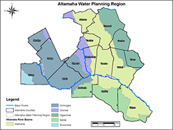 Map of the Altamaha Water Planning Region.