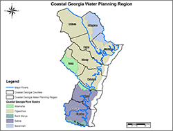 Map of the Coastal Georgia Water Planning Region.